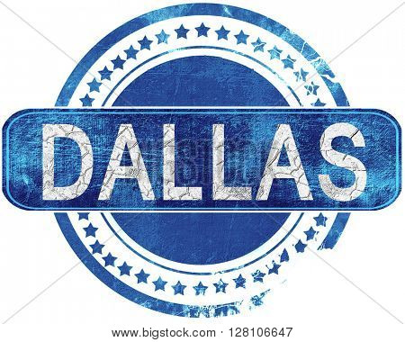 dallas grunge blue stamp. Isolated on white.