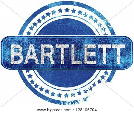 bartlett grunge blue stamp. Isolated on white.