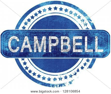 campbell grunge blue stamp. Isolated on white.