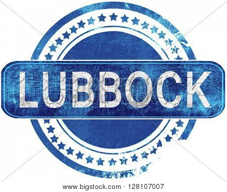 lubbock grunge blue stamp. Isolated on white.