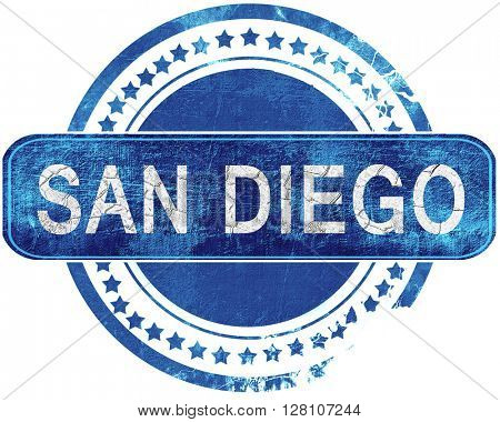 san diego grunge blue stamp. Isolated on white.