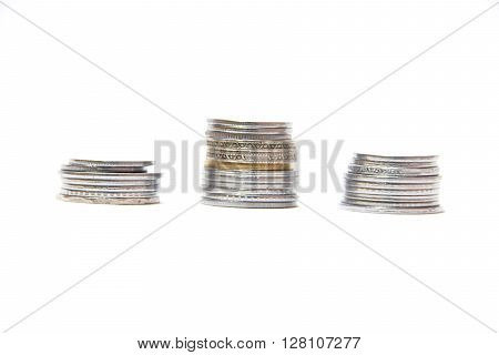 Currency coins arranged in columns to depict movement of money market