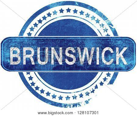 brunswick grunge blue stamp. Isolated on white.