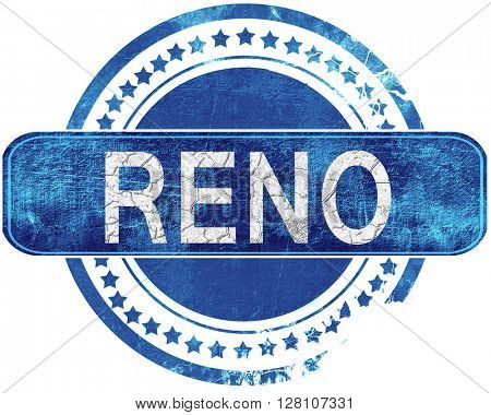 reno grunge blue stamp. Isolated on white.