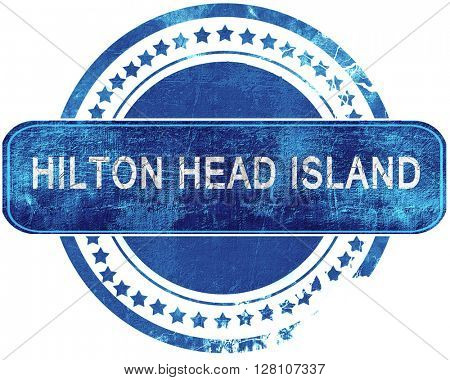 hilton head island grunge blue stamp. Isolated on white.