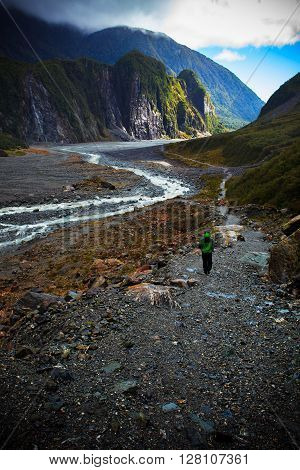 beautiful scenic of fox glacier important traveling destination in south island new zealand