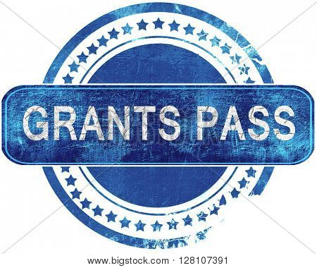 grants pass grunge blue stamp. Isolated on white.