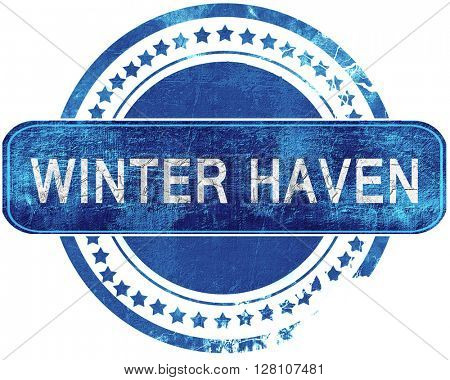 winter haven grunge blue stamp. Isolated on white.