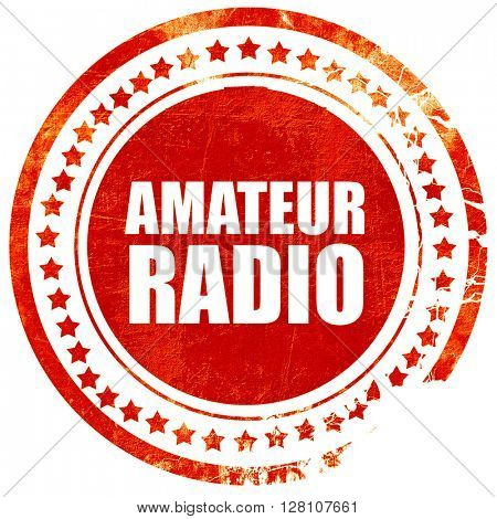 amateur radio, red grunge stamp on solid background