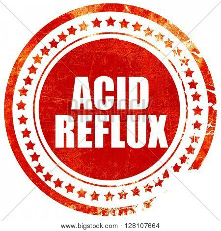acid reflux, red grunge stamp on solid background