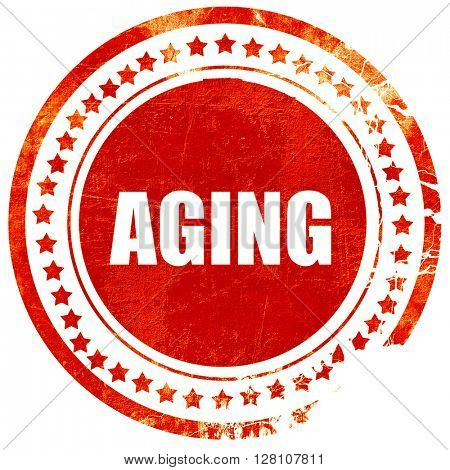 aging, red grunge stamp on solid background
