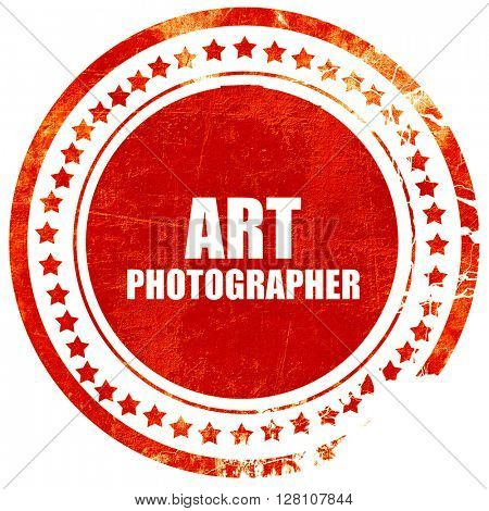 art photographer, red grunge stamp on solid background