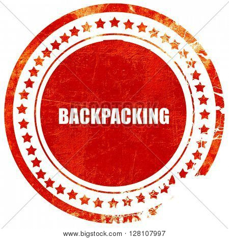 backpacking, red grunge stamp on solid background