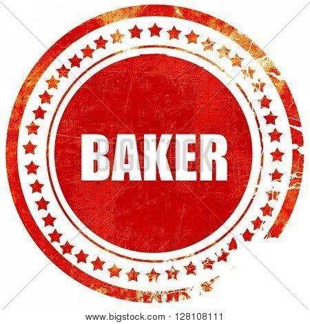baker, red grunge stamp on solid background