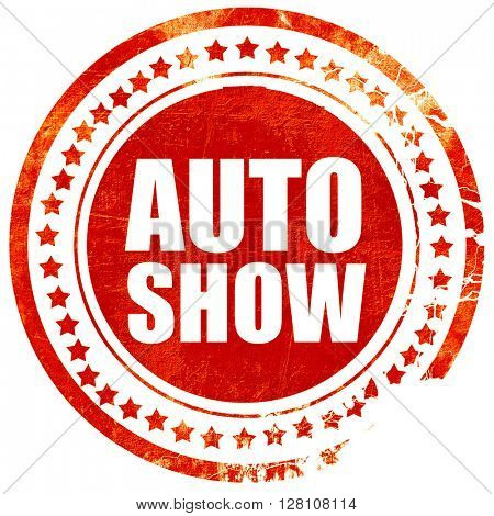 auto show, red grunge stamp on solid background