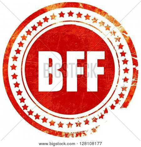 bff, red grunge stamp on solid background