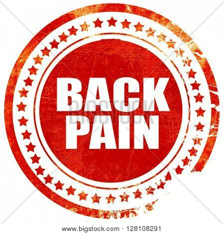 back pain, red grunge stamp on solid background