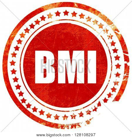 bmi, red grunge stamp on solid background