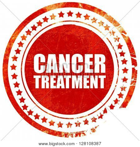 cancer treatment, red grunge stamp on solid background