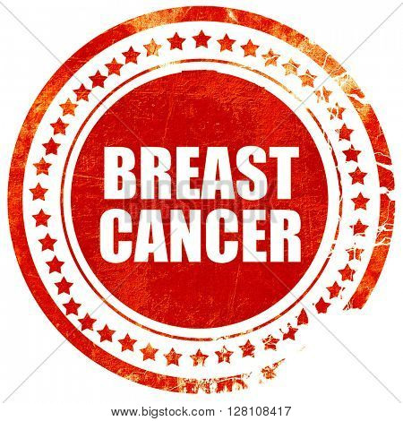 breast cancer, red grunge stamp on solid background