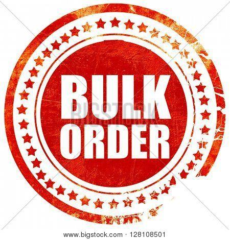 bulk order, red grunge stamp on solid background