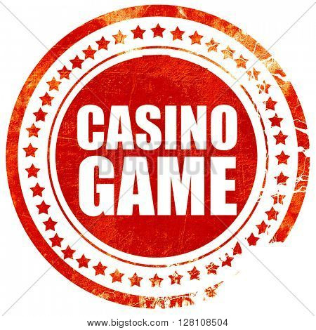 casino game, red grunge stamp on solid background