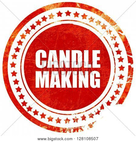 candle making, red grunge stamp on solid background