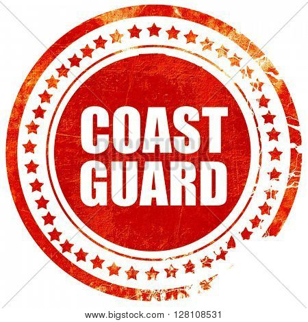 coast guard, red grunge stamp on solid background
