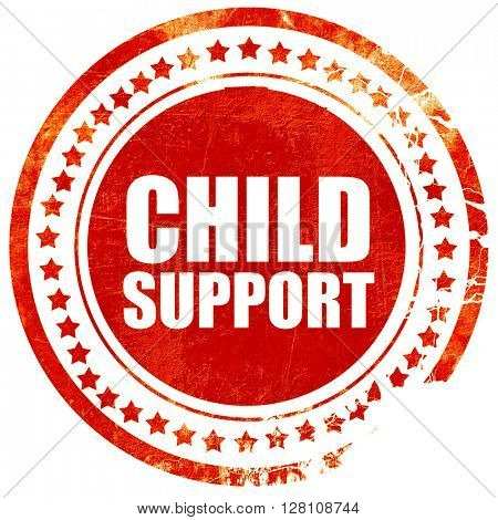 child support, red grunge stamp on solid background