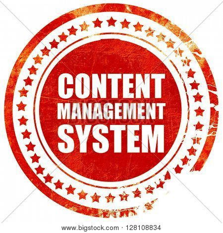 content management system, red grunge stamp on solid background