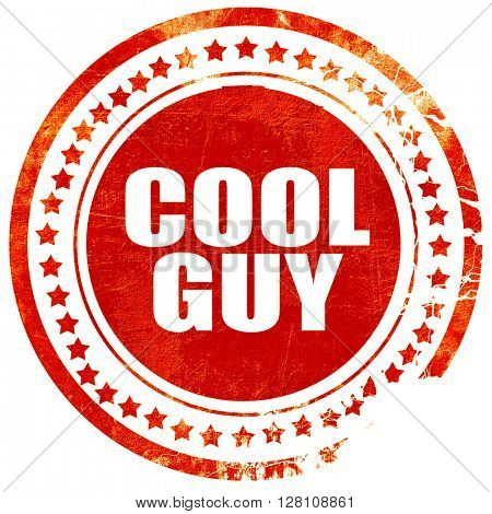 cool guy, red grunge stamp on solid background