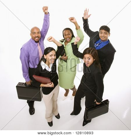 Portrait of multi-ethnic business group standing holding briefcases and cheering.