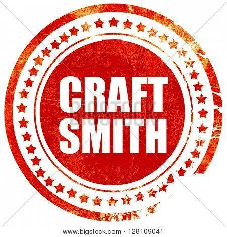 craft smith, red grunge stamp on solid background