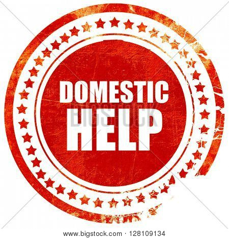 domestic help, red grunge stamp on solid background
