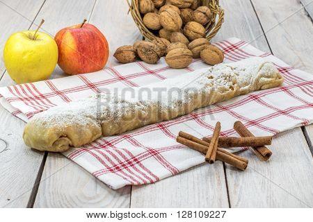 Whole Sugared Homemade Apple Strudel with Cinnamon
