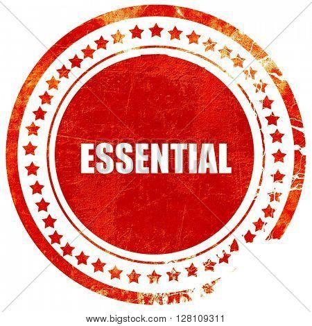 essential, red grunge stamp on solid background