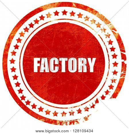 factory, red grunge stamp on solid background