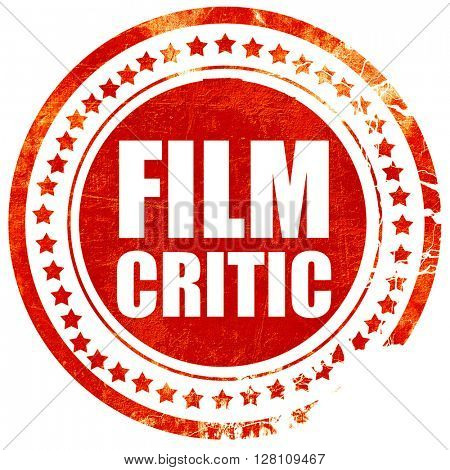 film critic, red grunge stamp on solid background