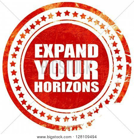 expand your horizons, red grunge stamp on solid background