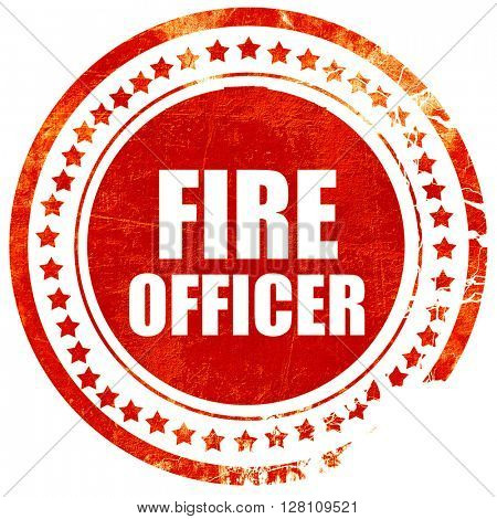 fire officer, red grunge stamp on solid background