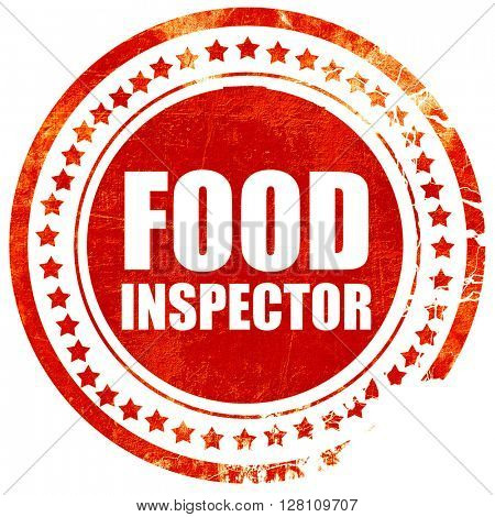 food inspector, red grunge stamp on solid background
