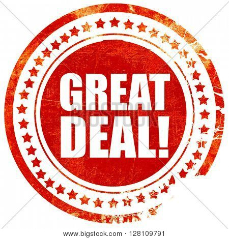 great deal, red grunge stamp on solid background