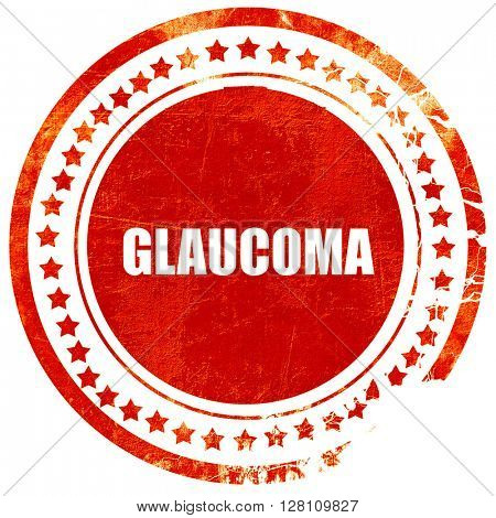 glaucoma, red grunge stamp on solid background