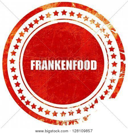 frankenfood, red grunge stamp on solid background