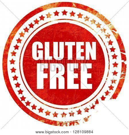 gluten free, red grunge stamp on solid background