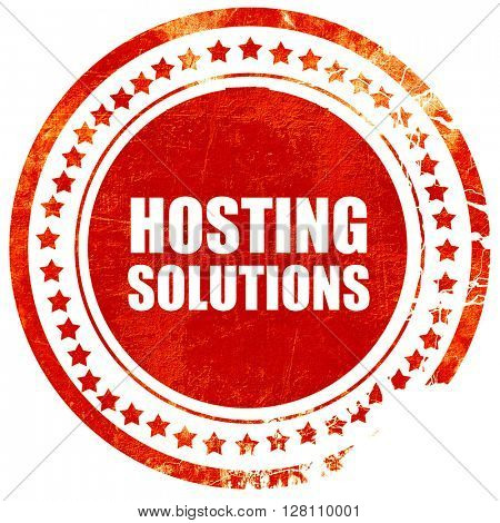hosting solutions, red grunge stamp on solid background