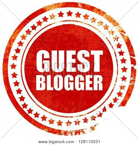 guest blogger, red grunge stamp on solid background