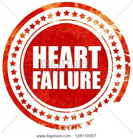 heart failure, red grunge stamp on solid background