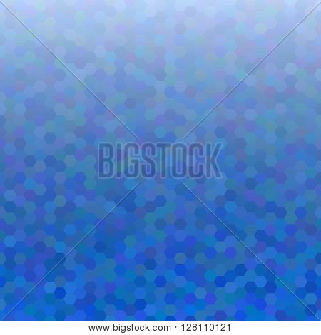 Blue abstract mosaic - vector background. Blue colored hexagon pattern background.