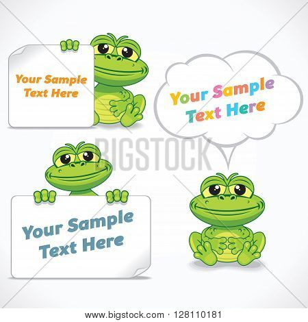 Cute Cartoon Dragon or Frog with Blank Banners